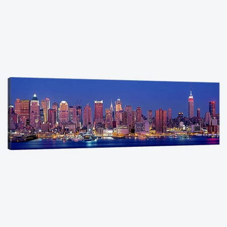 USA, New York, New York City, West Side, Skyscrapers in a city during dusk Canvas Print #PIM4567} by Panoramic Images Art Print