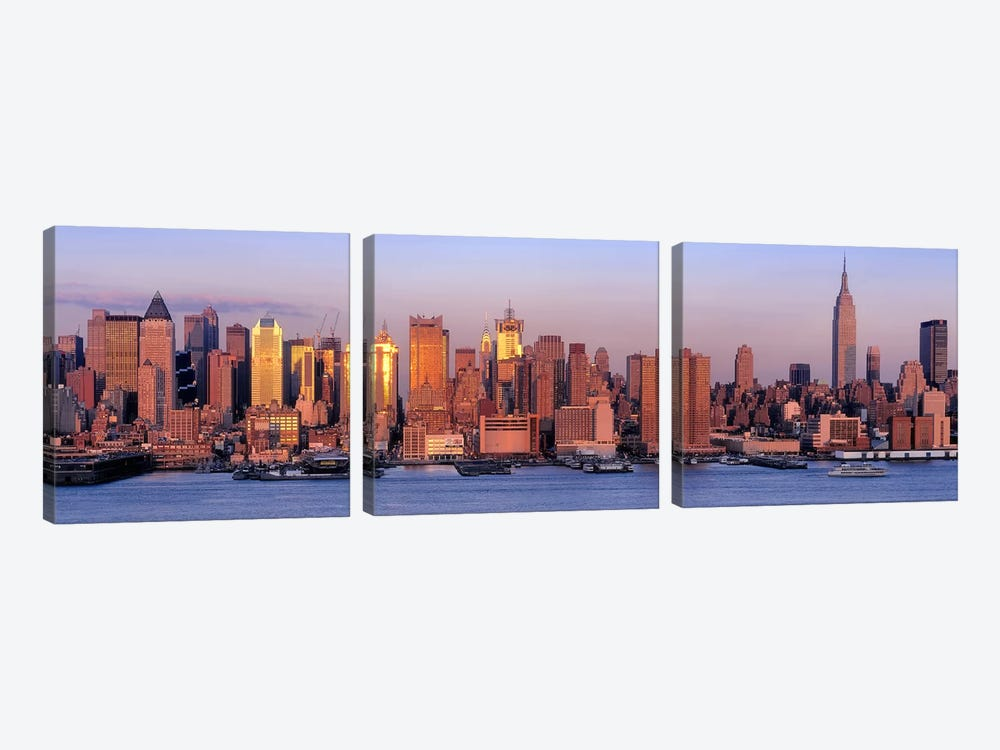 USA, New York, New York City, West Side, Skyscrapers in a city during dusk #2 by Panoramic Images 3-piece Canvas Artwork