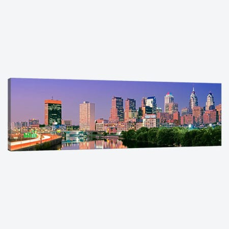 US, Pennsylvania, Philadelphia skyline, night #2 Canvas Print #PIM4569} by Panoramic Images Canvas Art