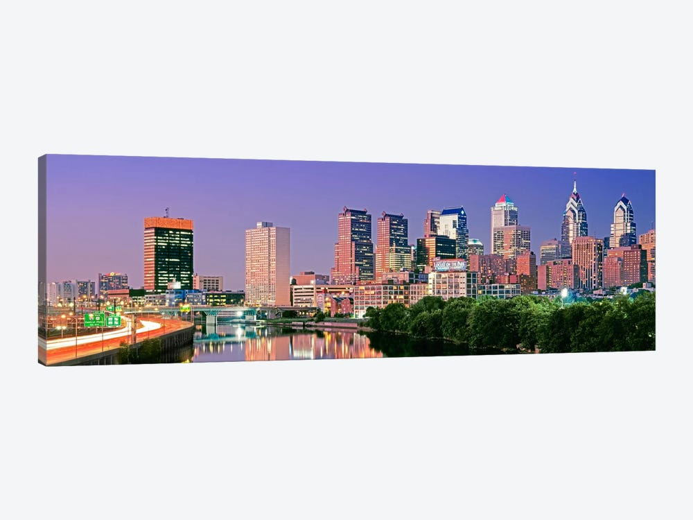 US, Pennsylvania, Philadelphia skyline, night #2 by Panoramic Images 1-piece Art Print