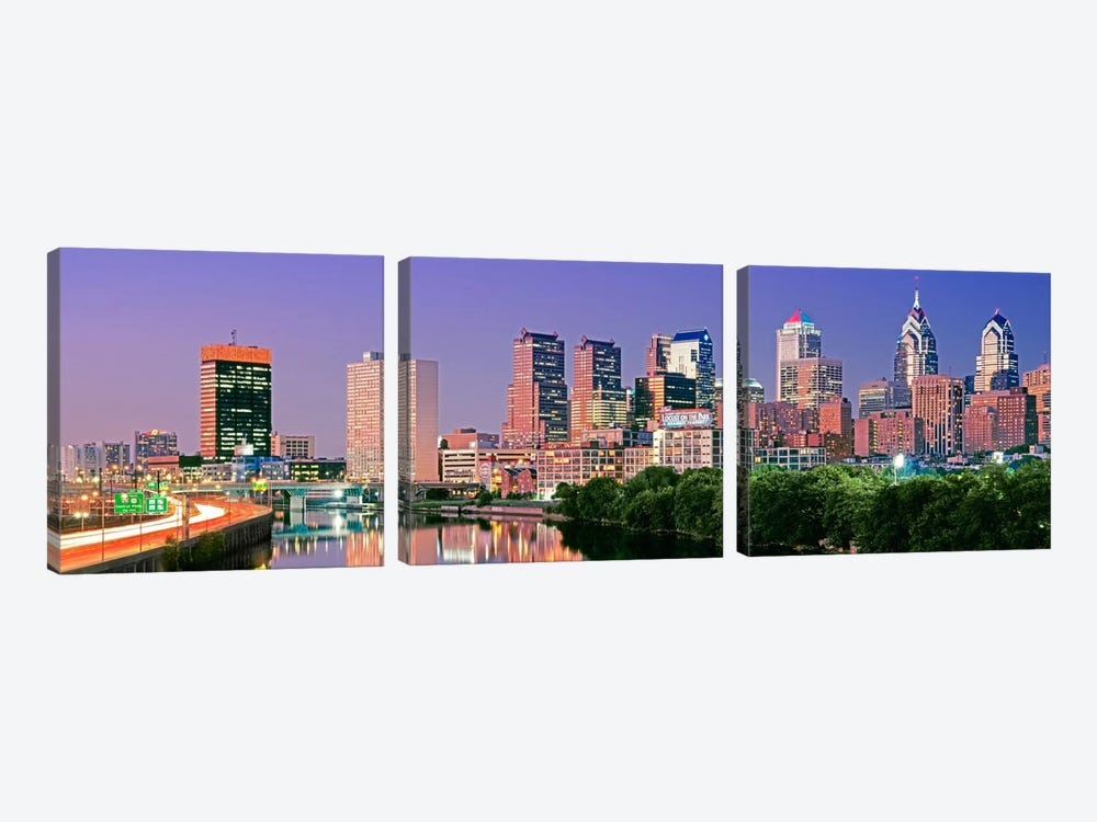 US, Pennsylvania, Philadelphia skyline, night #2 by Panoramic Images 3-piece Art Print