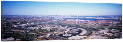 USA, New Jersey, Newark Airport, Aerial view with Manhattan in background Canvas Art Print