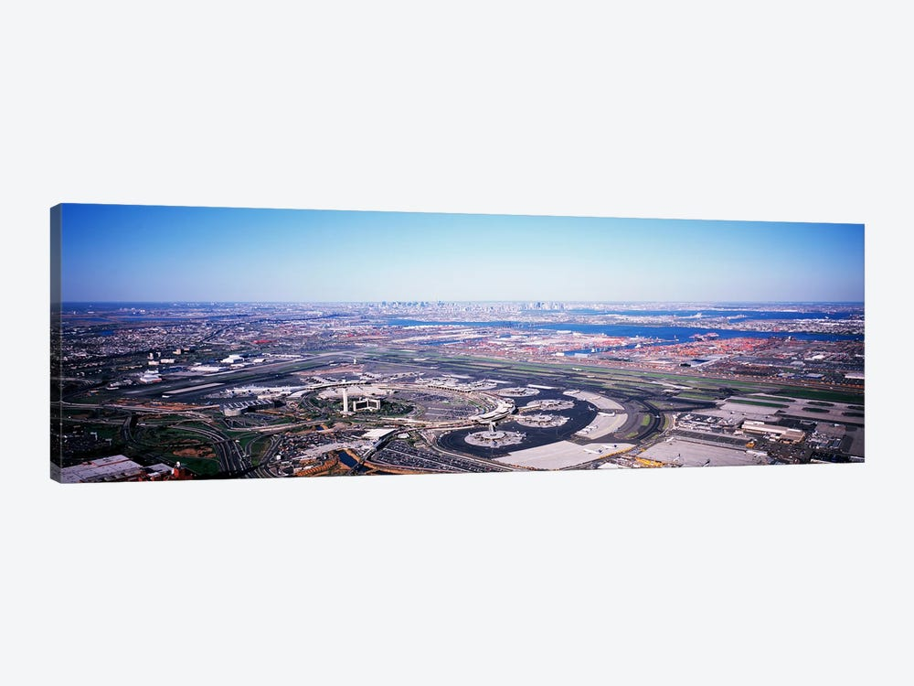 USA, New Jersey, Newark Airport, Aerial view with Manhattan in background by Panoramic Images 1-piece Canvas Art Print