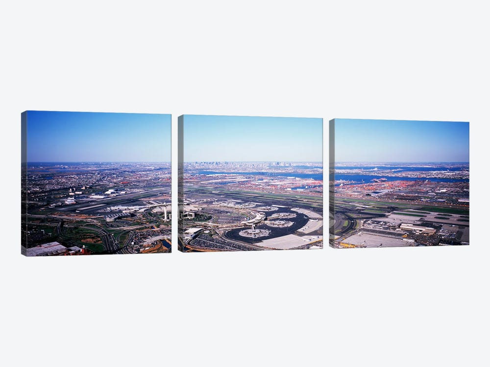 USA, New Jersey, Newark Airport, Aerial view with Manhattan in background by Panoramic Images 3-piece Canvas Print