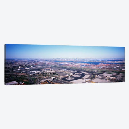 USA, New Jersey, Newark Airport, Aerial view with Manhattan in background Canvas Print #PIM4574} by Panoramic Images Canvas Artwork