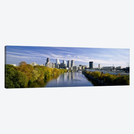 Reflection of buildings in water, Schuylkill River, Northwest Philadelphia, Philadelphia, Pennsylvania, USA Canvas Print #PIM457} by Panoramic Images Canvas Art
