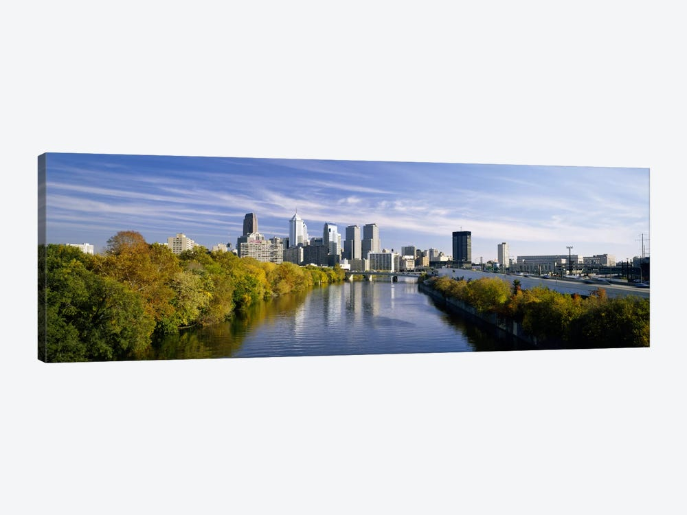 Reflection of buildings in water, Schuylkill River, Northwest Philadelphia, Philadelphia, Pennsylvania, USA by Panoramic Images 1-piece Art Print