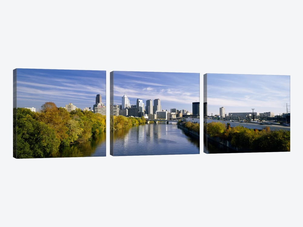 Reflection of buildings in water, Schuylkill River, Northwest Philadelphia, Philadelphia, Pennsylvania, USA by Panoramic Images 3-piece Canvas Art Print