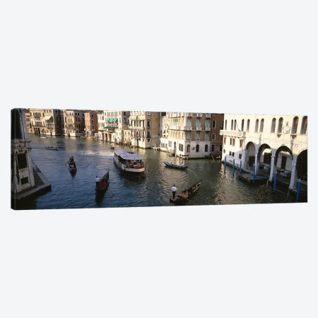 Traffic On The Canal, Venice, Italy 3-Piece Canvas #PIM4588} by Panoramic Images Canvas Art