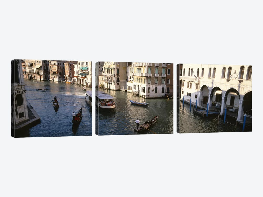 Traffic On The Canal, Venice, Italy by Panoramic Images 3-piece Canvas Artwork