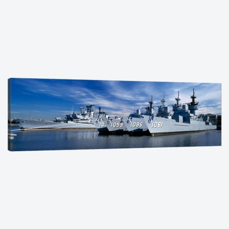 Warships at a naval base, Philadelphia, Philadelphia County, Pennsylvania, USA Canvas Print #PIM458} by Panoramic Images Art Print