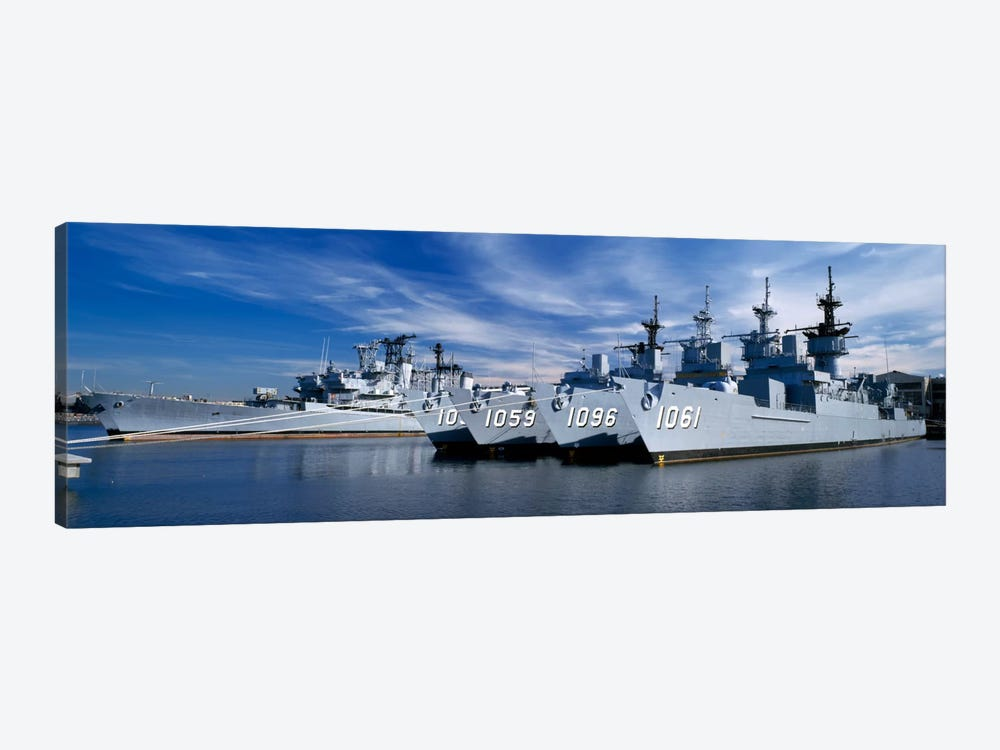 Warships at a naval base, Philadelphia, Philadelphia County, Pennsylvania, USA by Panoramic Images 1-piece Canvas Artwork