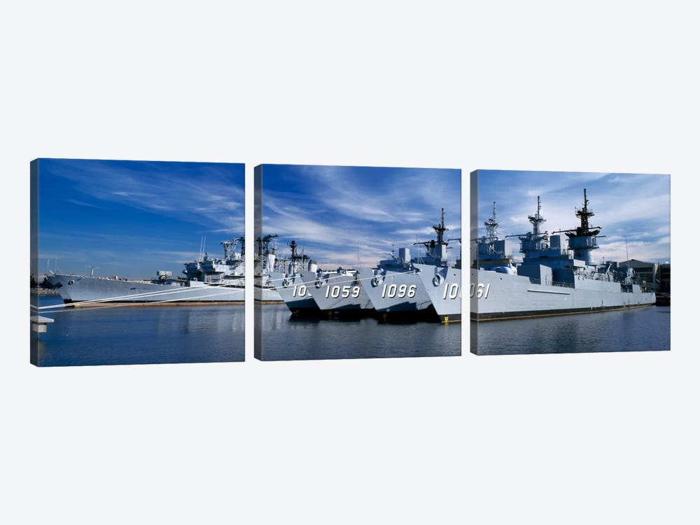 Warships at a naval base, Philadelphia, Philadelphia County, Pennsylvania, USA by Panoramic Images 3-piece Canvas Artwork