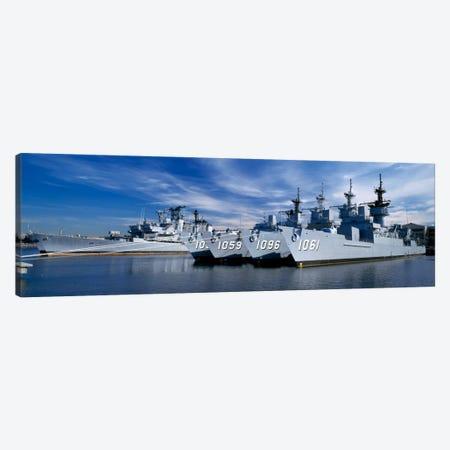 Warships at a naval base, Philadelphia, Philadelphia County, Pennsylvania, USA Canvas Print #PIM458} by Panoramic Images Art Print
