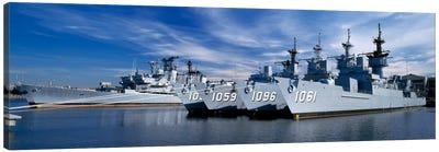 Warships at a naval base, Philadelphia, Philadelphia County, Pennsylvania, USA Canvas Art Print