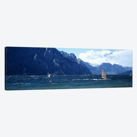Windsurfing on a lake, Lake Garda, Italy Canvas Print #PIM4594} by Panoramic Images Canvas Artwork