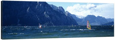 Windsurfing on a lake, Lake Garda, Italy Canvas Print #PIM4594