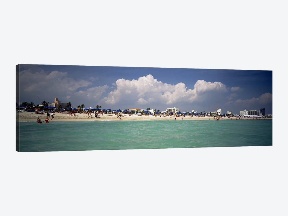 Tourists on the beach, Miami, Florida, USA by Panoramic Images 1-piece Canvas Artwork