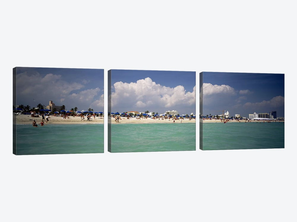 Tourists on the beach, Miami, Florida, USA by Panoramic Images 3-piece Canvas Wall Art