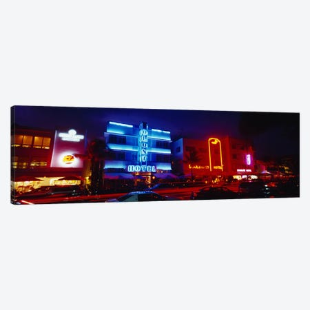Low Angle View Of A Hotel Lit Up At Night, Miami, Florida, USA Canvas Print #PIM4596} by Panoramic Images Canvas Wall Art