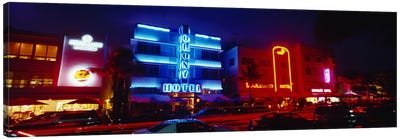 Low Angle View Of A Hotel Lit Up At Night, Miami, Florida, USA Canvas Print #PIM4596