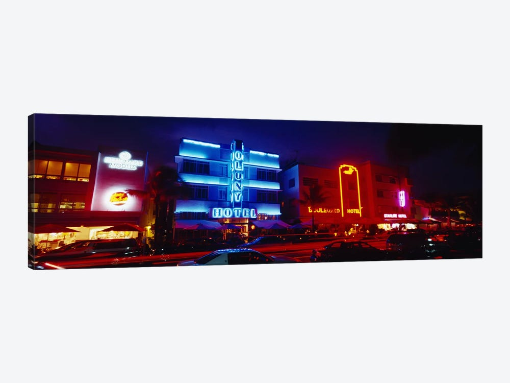 Low Angle View Of A Hotel Lit Up At Night, Miami, Florida, USA by Panoramic Images 1-piece Canvas Art Print