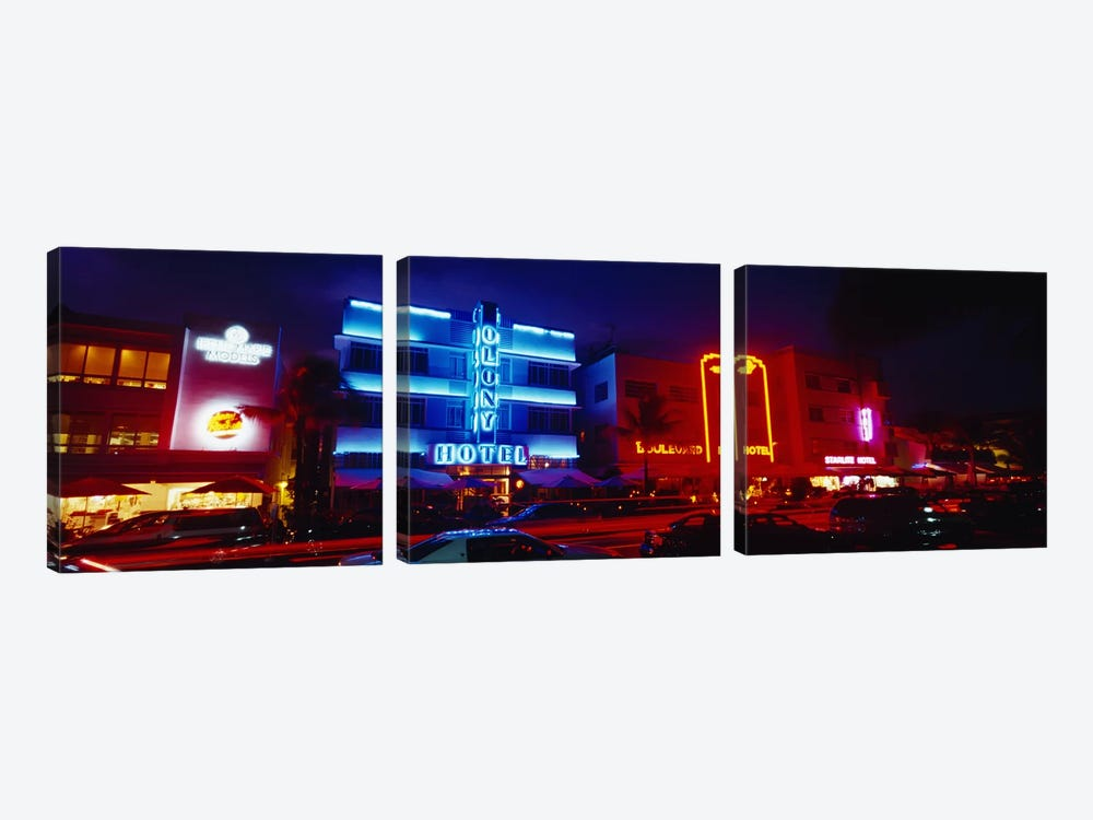 Low Angle View Of A Hotel Lit Up At Night, Miami, Florida, USA by Panoramic Images 3-piece Canvas Print