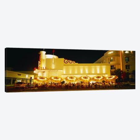 Restaurant lit up at night, Miami, Florida, USA Canvas Print #PIM4597} by Panoramic Images Canvas Art