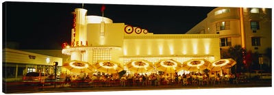 Restaurant lit up at night, Miami, Florida, USA Canvas Art Print