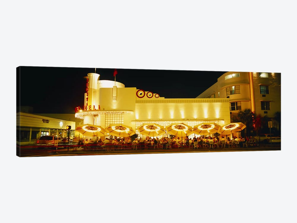 Restaurant lit up at night, Miami, Florida, USA by Panoramic Images 1-piece Canvas Wall Art