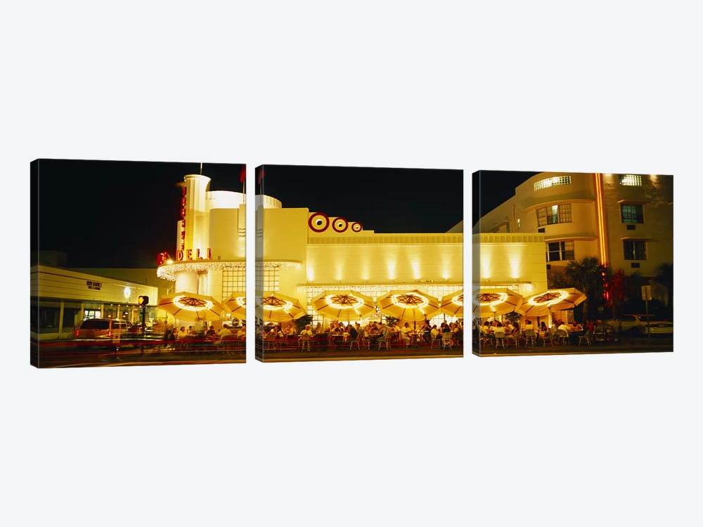 Restaurant lit up at night, Miami, Florida, USA by Panoramic Images 3-piece Canvas Wall Art