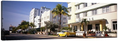 Car parked in front of a hotel, Miami, Florida, USA Canvas Art Print
