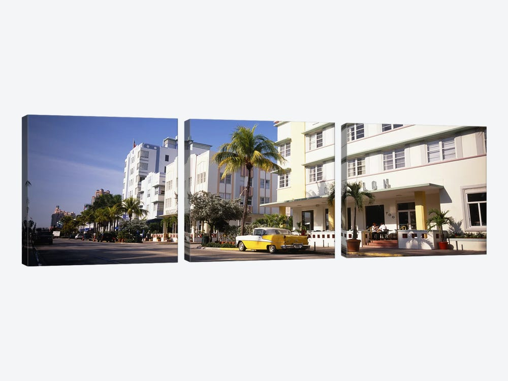 Car parked in front of a hotel, Miami, Florida, USA by Panoramic Images 3-piece Art Print