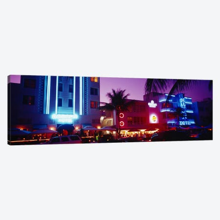 Hotel lit up at night, Miami, Florida, USA Canvas Print #PIM4599} by Panoramic Images Canvas Print