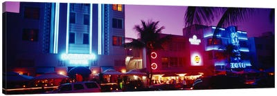 Hotel lit up at night, Miami, Florida, USA Canvas Art Print