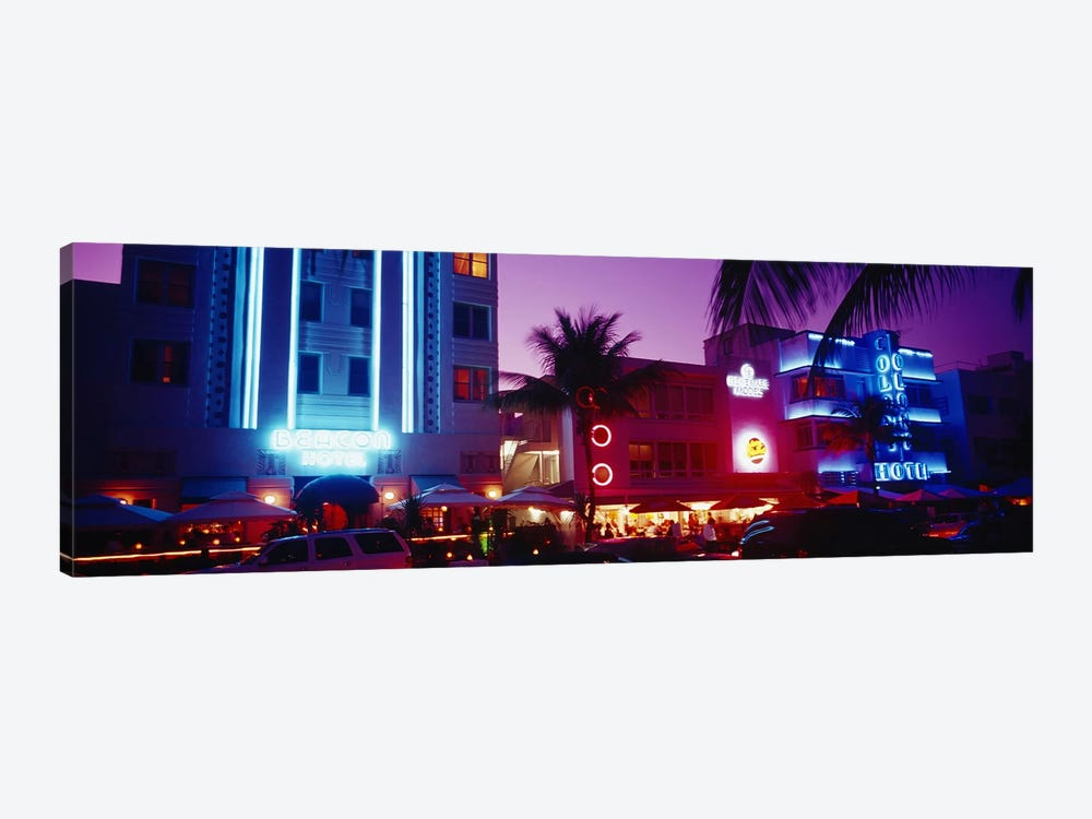 Hotel lit up at night, Miami, Florida, USA by Panoramic Images 1-piece Canvas Artwork