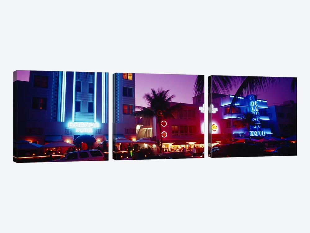 Hotel lit up at night, Miami, Florida, USA by Panoramic Images 3-piece Canvas Artwork