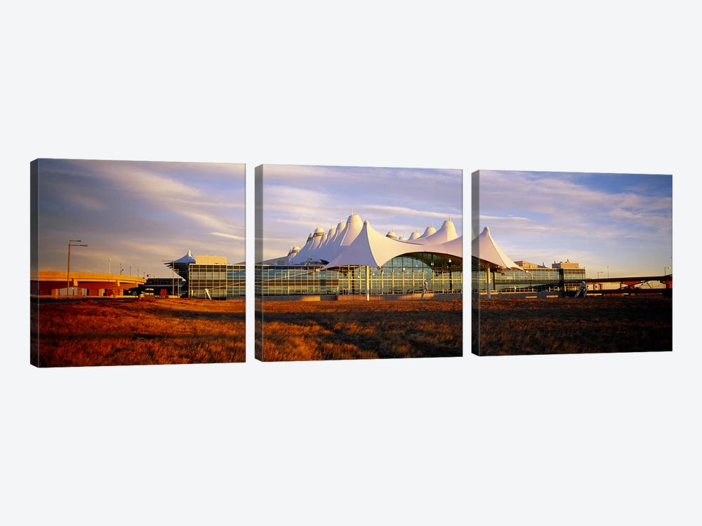 Clouded sky over an airportDenver International Airport, Denver, Colorado, USA by Panoramic Images 3-piece Canvas Wall Art