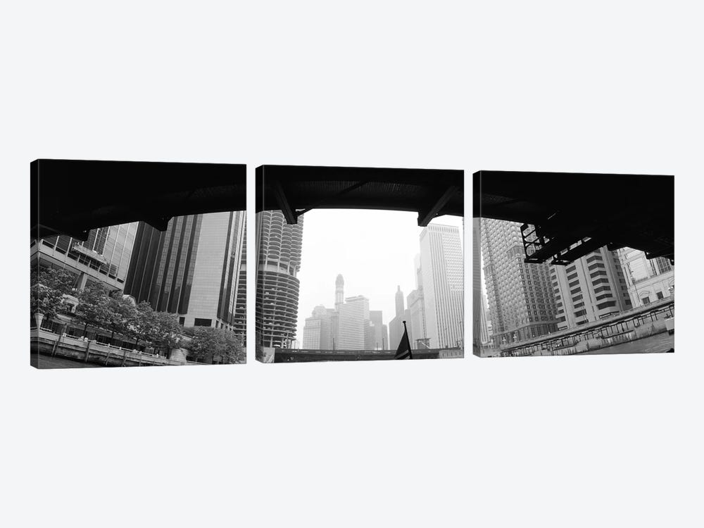 Low angle view of buildings, Chicago, Illinois, USA by Panoramic Images 3-piece Canvas Wall Art