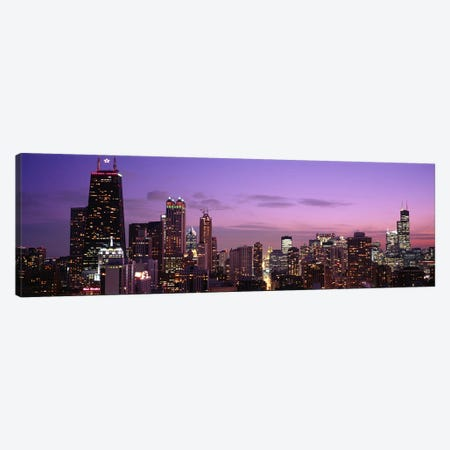 Buildings lit up at dusk, Chicago, Illinois, USA Canvas Print #PIM4605} by Panoramic Images Canvas Artwork