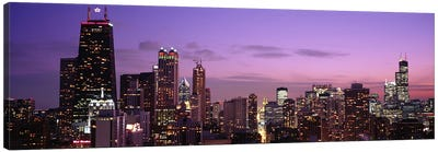 Buildings lit up at dusk, Chicago, Illinois, USA Canvas Print #PIM4605