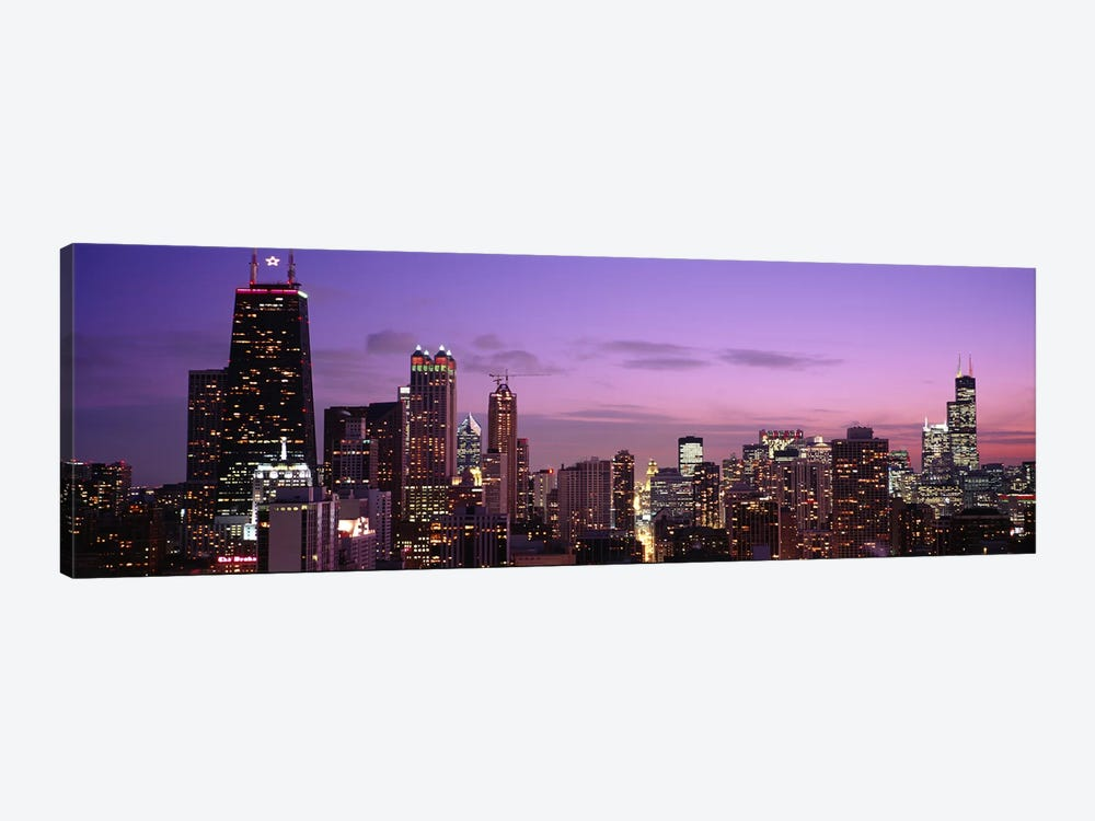 Buildings lit up at dusk, Chicago, Illinois, USA by Panoramic Images 1-piece Art Print