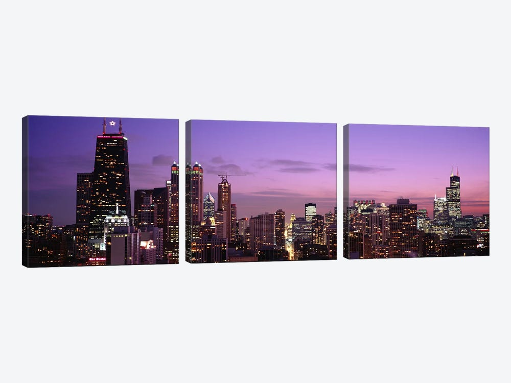 Buildings lit up at dusk, Chicago, Illinois, USA by Panoramic Images 3-piece Art Print
