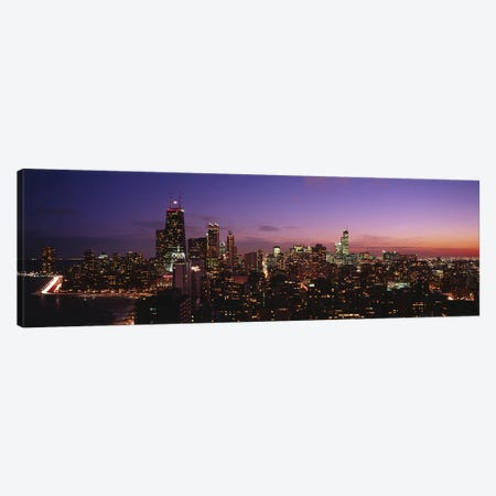 Buildings lit up at dusk, Chicago, Illinois, USA #2 Canvas Print #PIM4606} by Panoramic Images Canvas Artwork