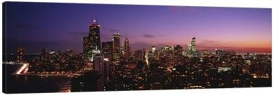 Buildings lit up at dusk, Chicago, Illinois, USA #2 Canvas Print #PIM4606