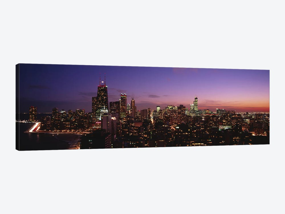 Buildings lit up at dusk, Chicago, Illinois, USA #2 1-piece Canvas Artwork