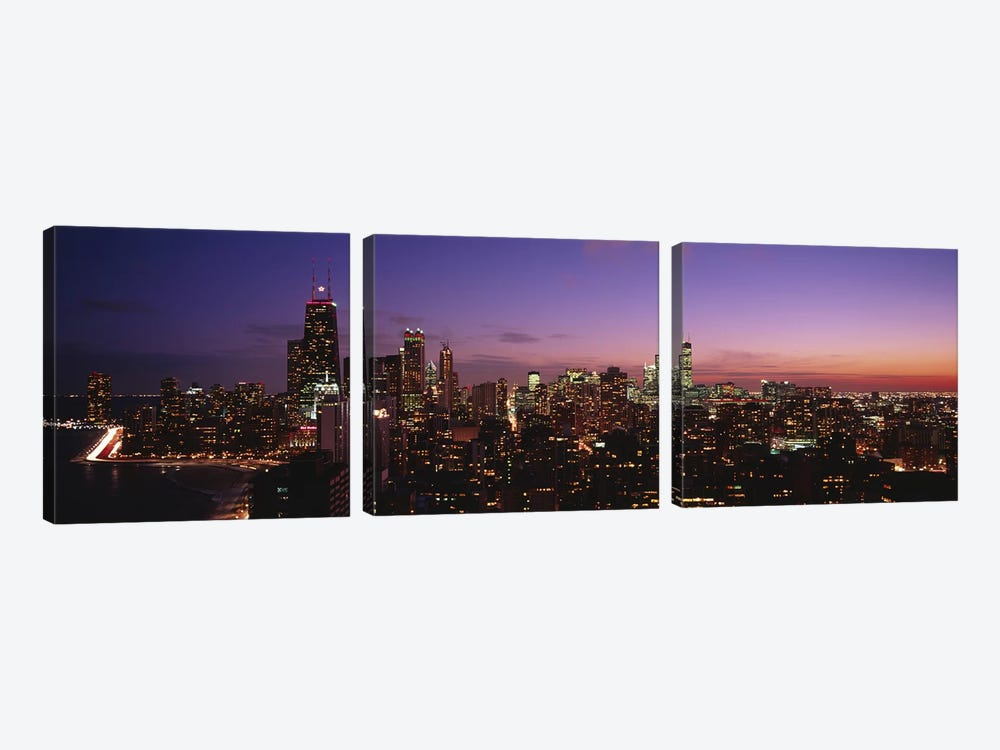 Buildings lit up at dusk, Chicago, Illinois, USA #2 by Panoramic Images 3-piece Canvas Art