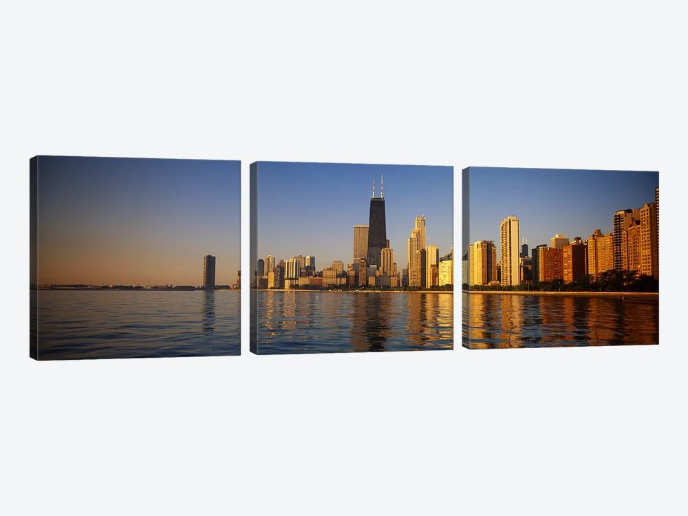 Buildings on the waterfront, Chicago, Illinois, USA by Panoramic Images 3-piece Art Print