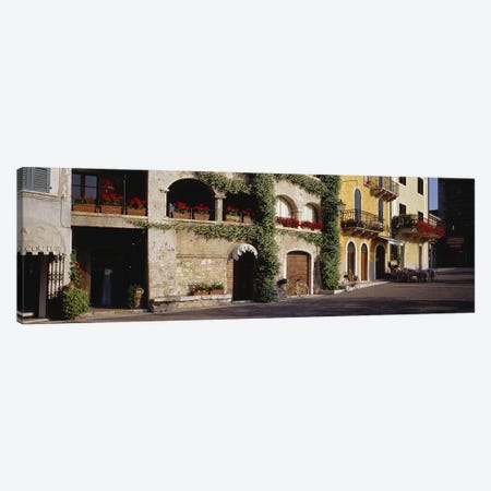 Cobblestone Lane Featuring Terrace Flower Boxes, Torri del Benaco, Verona, Italy Canvas Print #PIM4608} by Panoramic Images Canvas Print