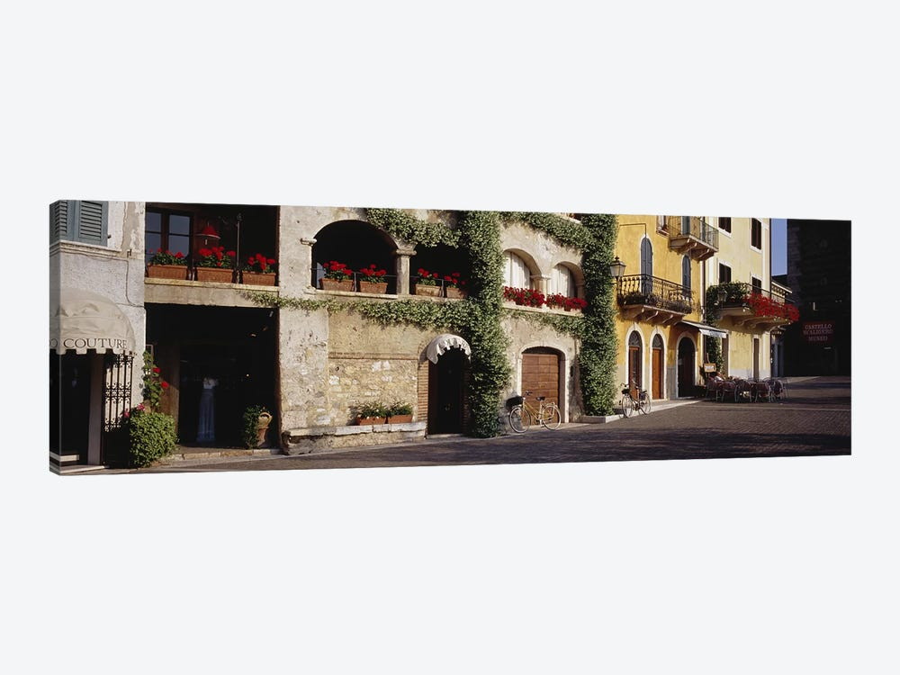 Cobblestone Lane Featuring Terrace Flower Boxes, Torri del Benaco, Verona, Italy 1-piece Canvas Artwork